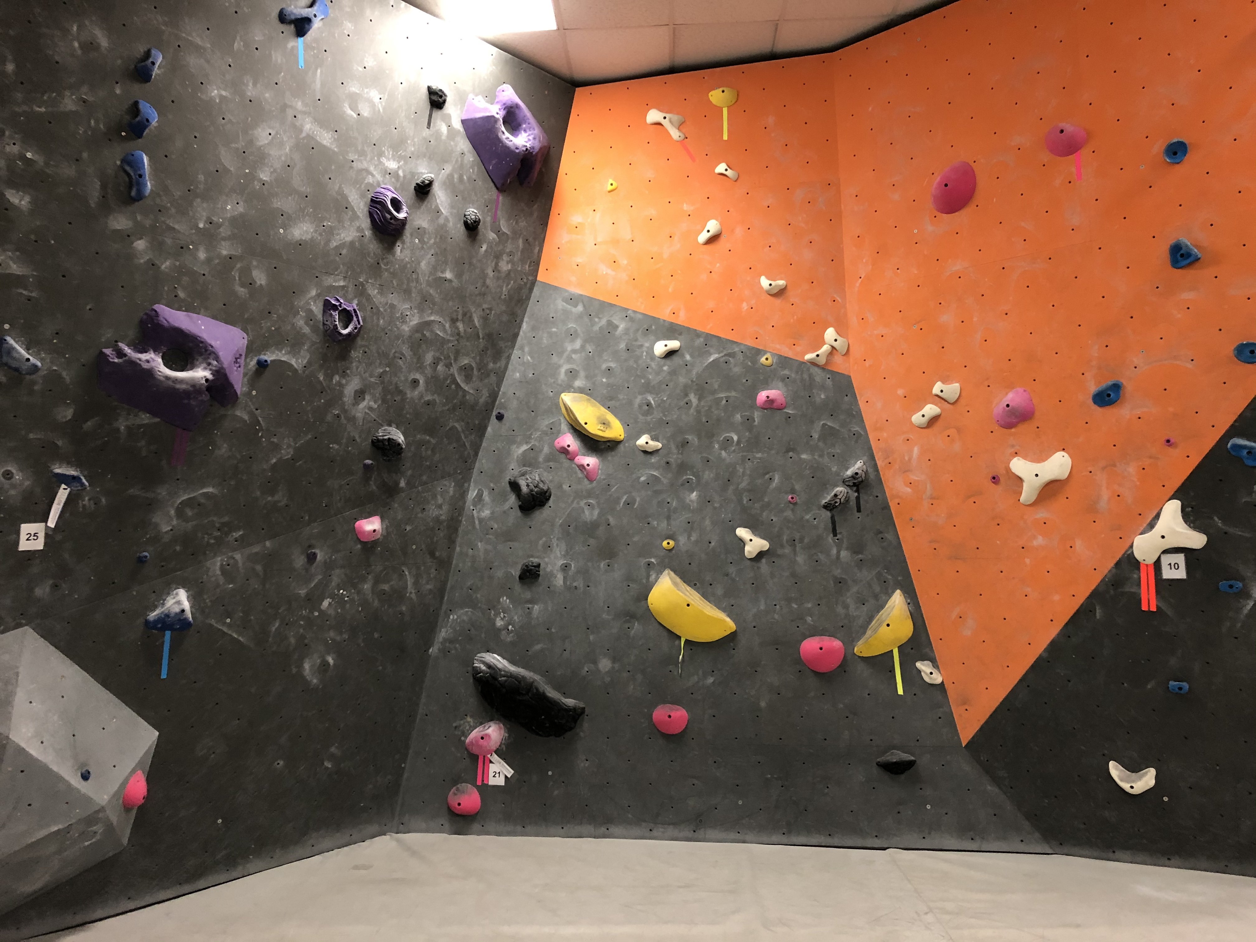 Locals only route number 21, a slab traverse route across three walls