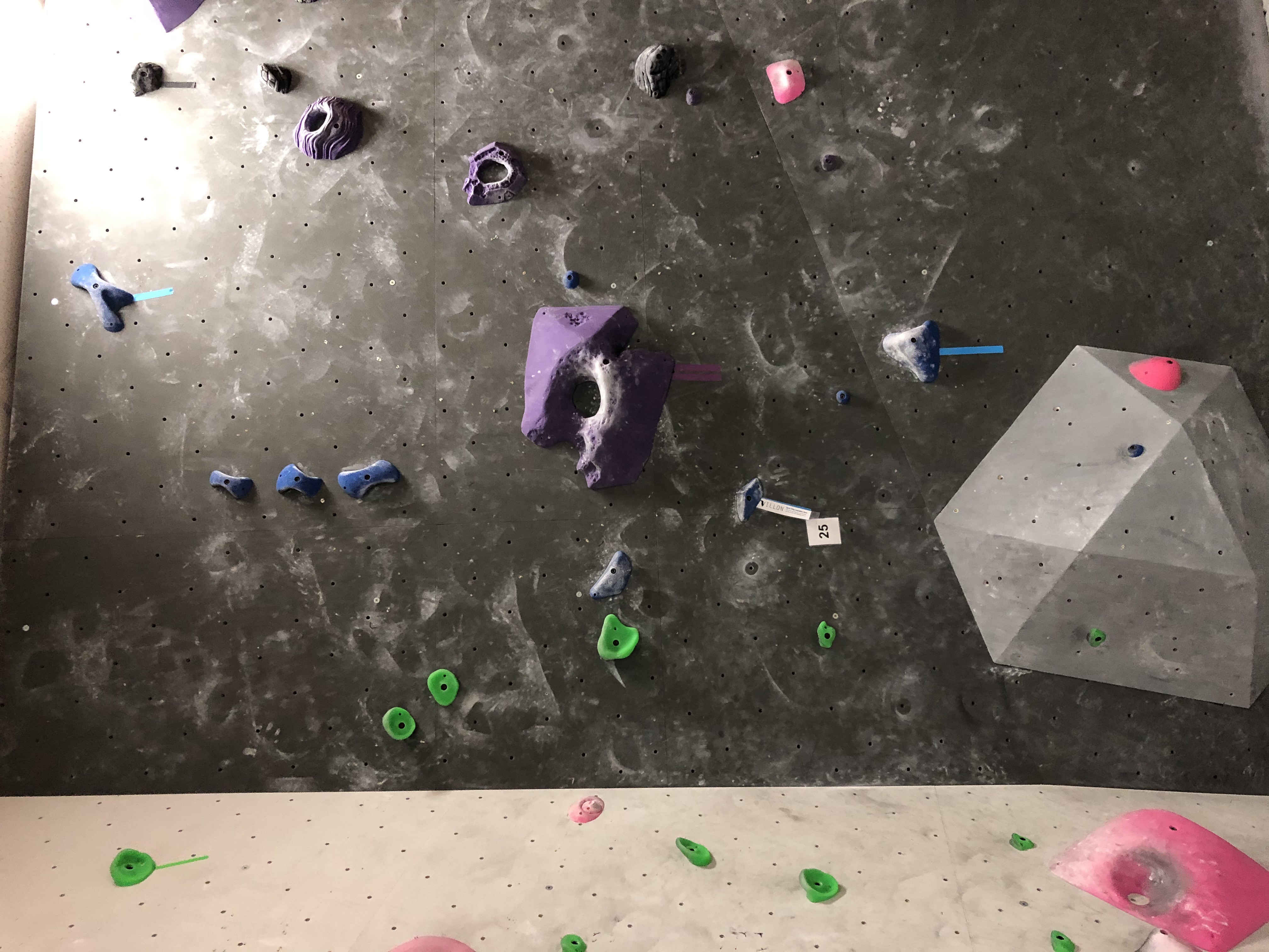 Locals only route 25, a blue pinch ascent with a squat start